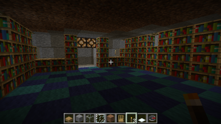 Bookshelves are in place