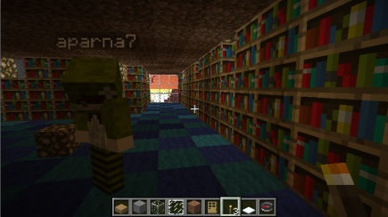 Miranda, the bookshelves, and a sunrise
