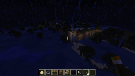 A lit corner created by changes in terrain algorithms. (The corner, that is: the lights I added a year or two ago.)