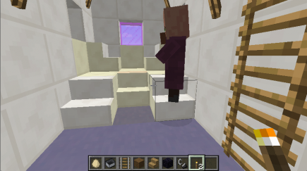 A villager inspects the inside