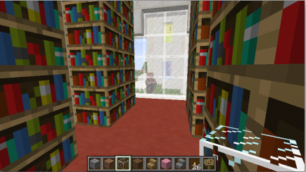 Inside the library, with one of the villagers keeping track of me