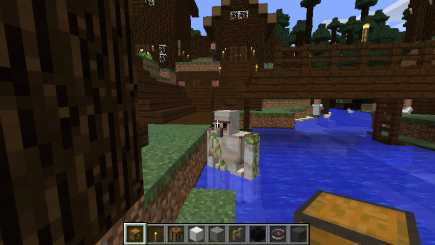 The golem is in the water
