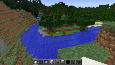 A nice wood / river between them, you can barely see the roofs of the village