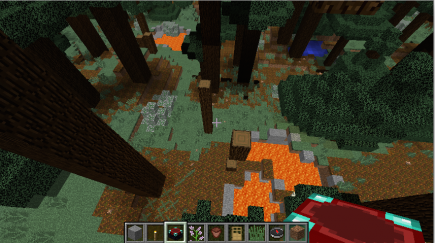 A forest with lava