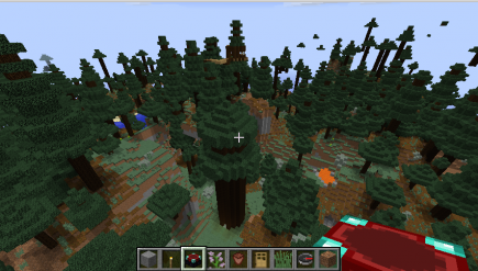 That large trunk is an artificial tree, there's also a path in the treetops behind it