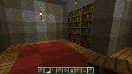 A bookshelf on the right wall