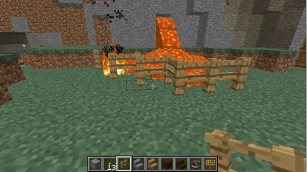 The first attempt at a fence around the lava didn't work so well
