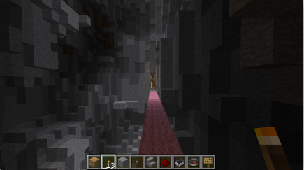 A pink path through a natural cavern